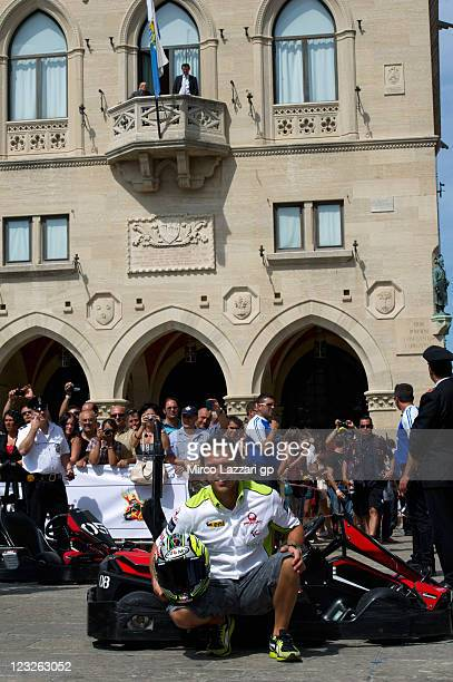 Loris Capirossi of Italy and Pramac Racing Team poses during the preevent 'Kart Challenge through centre San Marino and inauguration of Casa MotoGP'...