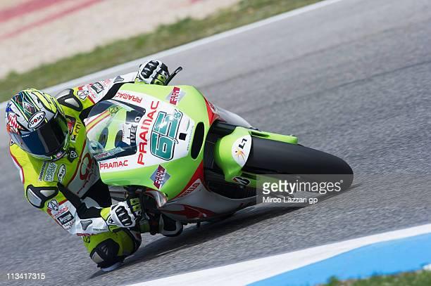 Loris Capirossi of Italy and Pramac Racing Team rounds the bend during the MotoGP test in Estoril Circuit on May 2 2011 in Estoril Portugal