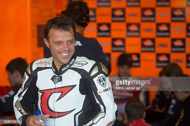Loris Capirossi of Italy and Repsol Honda Team during the MotoGP Tests In Brno at Brno Circuit on August 27 2012 in Brno Czech Republic