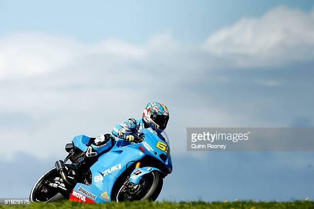 Loris Capirossi of Italy rides the Rizla Suzuki MotoGP Tech 3 Yamaha during a practice session ahead of the MotoGP of Australia at Phillip Island...