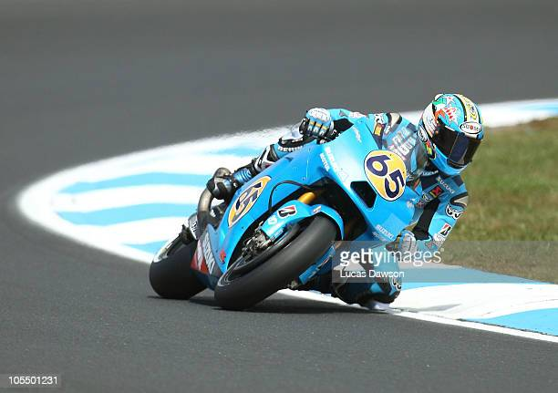 Loris Capirossi of Italy rides the Suzuki MotoGP Suzuki during qualifying for the Australian MotoGP which is round 16 of the MotoGP World...