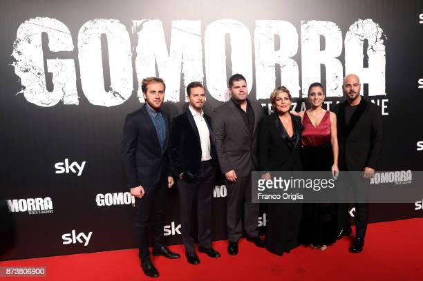 Loris De Luna Arturo Muselli Salvatore Esposito Cristiana Donadio Cristiana Dell'Anna and Marco D'Amore attend the 'Gomorra' premiere at Ex Dogana on...