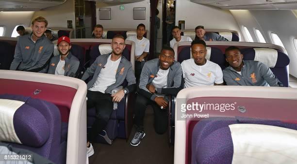 Loris Karius Adam Lallana Jordan Henderson Daniel Sturridge Nathaniel Clyne and Georginio Wijnaldum of Liverpool on the plane before pre season tour...