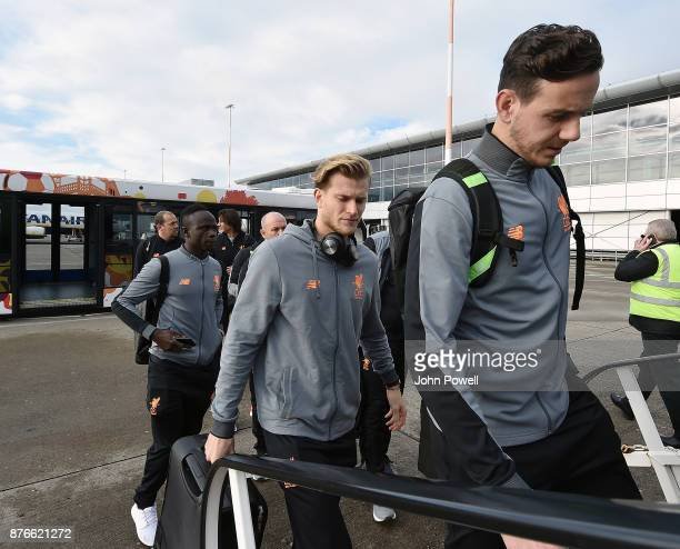Loris Karius and Danny Ward of Liverpool before departing for the group E Champions League match between Sevilla and Liverpool at Liverpool John...