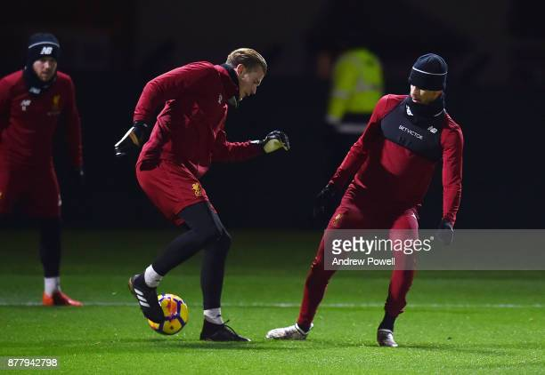 Loris Karius and Dominic Solanke of Liverpool during a training session at Melwood Training Ground on November 23 2017 in Liverpool England