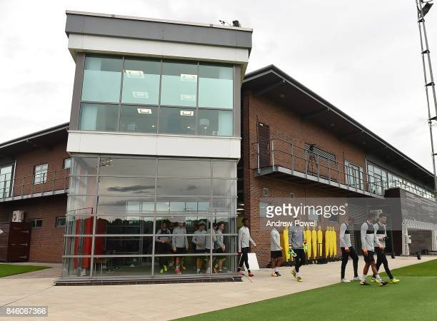 Loris Karius and Ovie Ejaria of Liverpool during a training session at Melwood Training Ground on September 12 2017 in Liverpool United Kingdom
