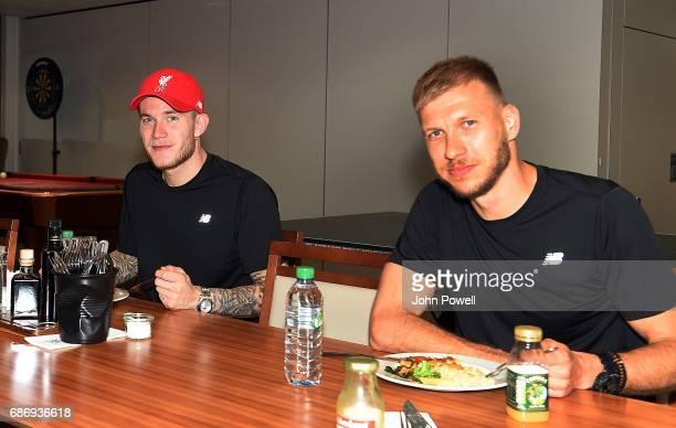 Loris Karius and Ragnar Klavan of Liverpool at Melwood Training Ground on May 22 2017 in Liverpool England