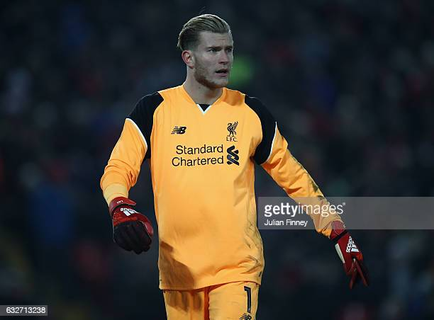 Loris Karius goalkeeper of Liverpool looks on during the EFL Cup SemiFinal Second Leg match between Liverpool and Southampton at Anfield on January...