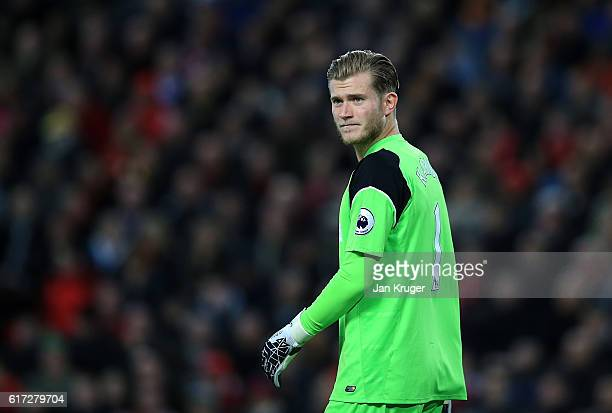Loris Karius goalkeeper of Liverpool looks on during the Premier League match between Liverpool and West Bromwich Albion at Anfield on October 22...