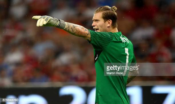 Loris Karius goalkeeper of Liverpool reacts during the Audi Cup 2017 match between Bayern Muenchen and Liverpool FC at Allianz Arena on August 1 2017...