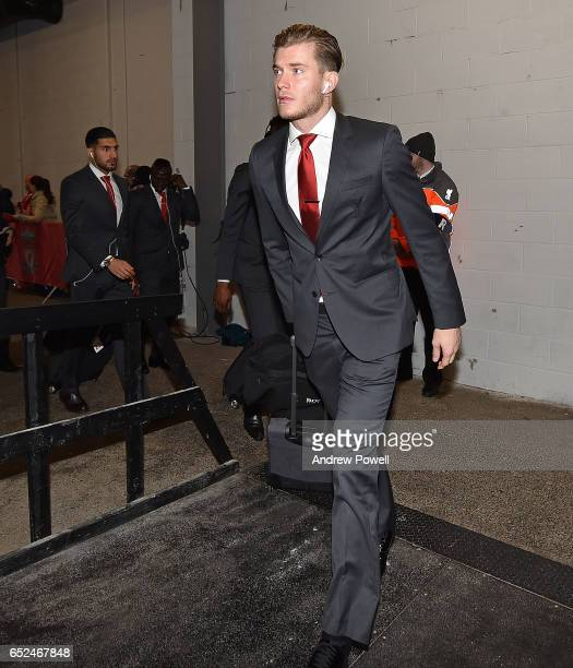 Loris Karius Manager of Liverpool Arriving before the Premier League match between Liverpool and Burnley at Anfield on March 12 2017 in Liverpool...