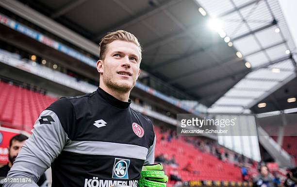 Loris Karius of 1 FSV Mainz 05 during the first bundesliga match between 1 FSV Mainz 05 and Bayer Leverkusen at Coface Arena on February 28 2016 in...