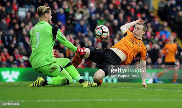 Loris Karius of Liverpool and Jon Dadi Bodvarsson of Wolverhampton Wanderers during The Emirates FA Cup Fourth Round between Liverpool and...