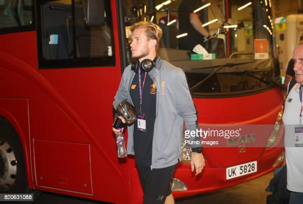 Loris Karius of Liverpool arrives at Hong Kong Stadium ahead of the Premier League Asia Trophy Final between Liverpool FC and Leicester City on July...
