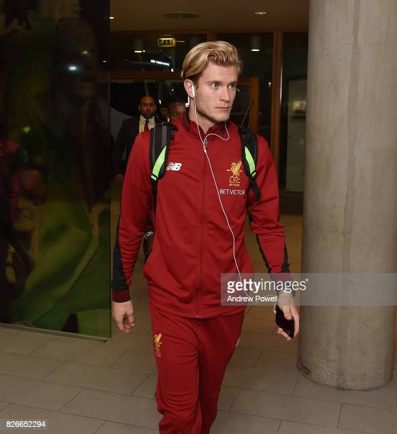 Loris Karius of Liverpool arrives before a pre season friendly match between Liverpool and Athletic Bilbao at Aviva Stadium on August 5 2017 in...