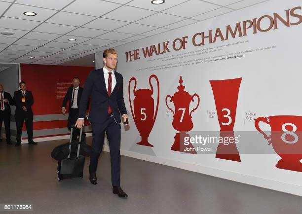 Loris Karius of Liverpool before the Premier League match between Liverpool and Manchester United at Anfield on October 14 2017 in Liverpool England