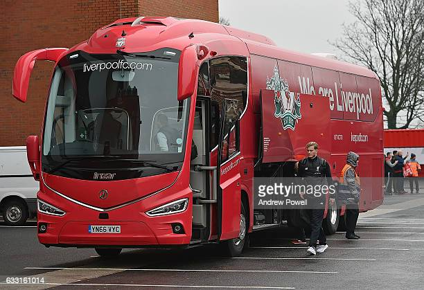 Loris Karius of Liverpool boards the new Liverpool team coach before the Premier League match between Liverpool and Chelsea at Anfield on January 31...