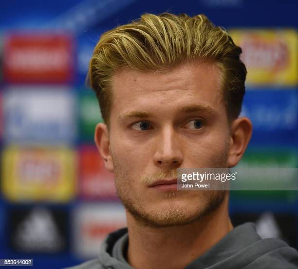 Loris Karius of Liverpool during a press conference at the Sheraton Airport Hotel on September 25 2017 in Moscow Russia