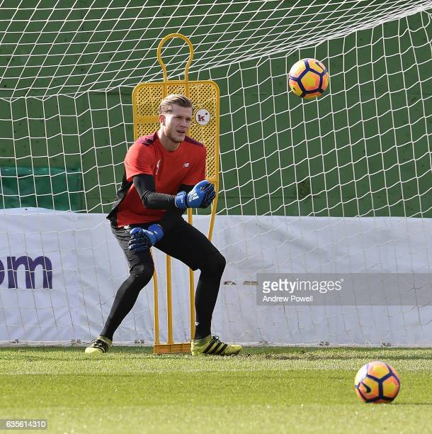 Loris Karius of Liverpool during a training session at La Manga on February 16 2017 in La Manga Spain