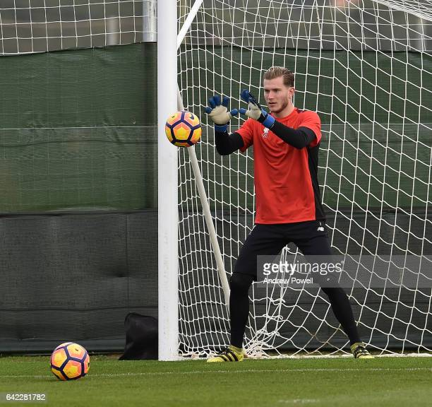 Loris Karius of Liverpool during a training session at La Manga on February 17 2017 in La Manga Spain