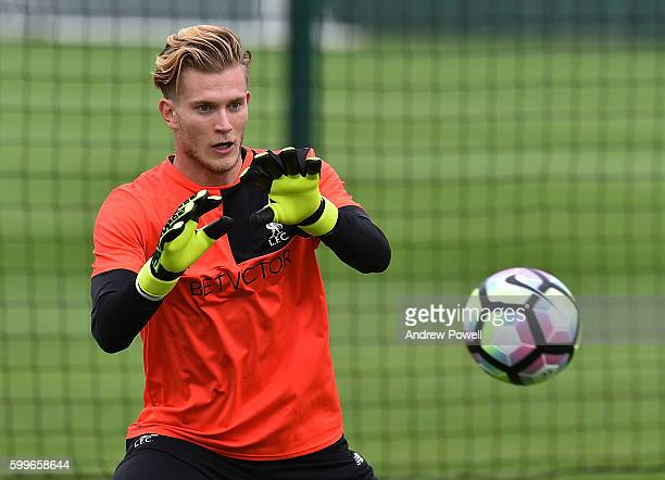 Loris Karius of Liverpool during a training session at Melwood Training Ground on September 6 2016 in Liverpool England