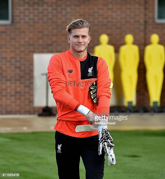 Loris Karius of Liverpool during a training session at Melwood Training Ground on September 30 2016 in Liverpool England