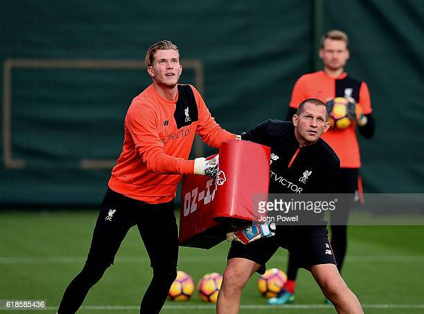 Loris Karius of Liverpool during a training session at Melwood Training Ground on October 27 2016 in Liverpool England