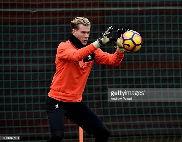 Loris Karius of Liverpool during a training session at Melwood Training Ground on November 30 2016 in Liverpool England