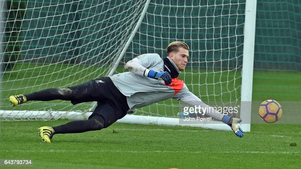 Loris Karius of Liverpool during a training session at Melwood Training Ground on February 22 2017 in Liverpool England