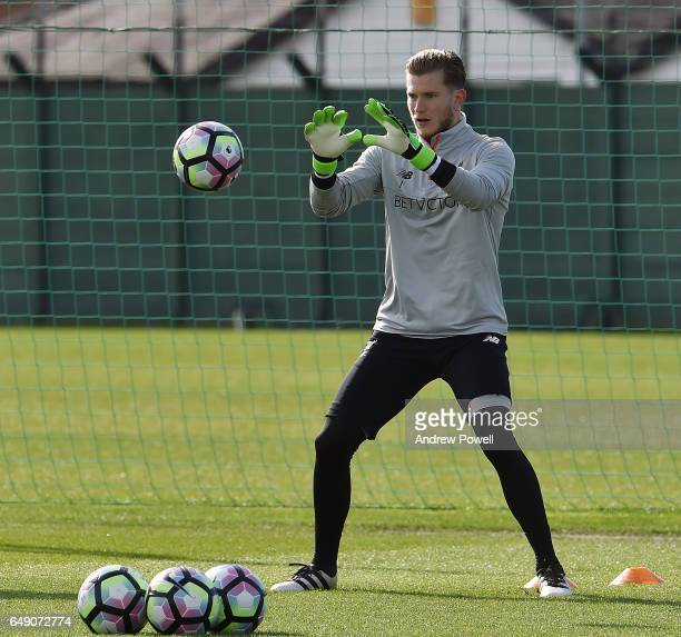 Loris Karius of Liverpool during a training session at Melwood Training Ground on March 7 2017 in Liverpool England