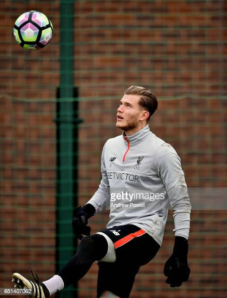 Loris Karius of Liverpool during a training session at Melwood Training Ground on March 10 2017 in Liverpool England