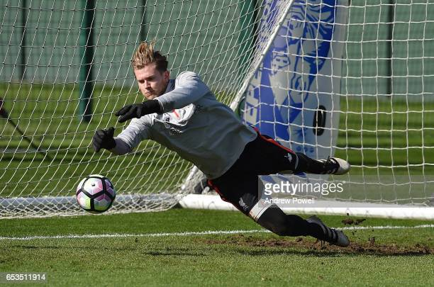 Loris Karius of Liverpool during a training session at Melwood Training Ground on March 15 2017 in Liverpool England