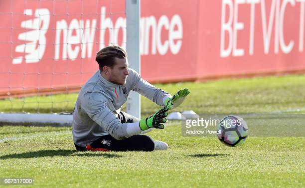 Loris Karius of Liverpool during a training session at Melwood Training Ground on April 11 2017 in Liverpool England