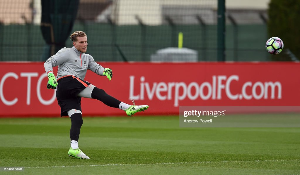 Loris Karius of Liverpool during a training session at Melwood Training Ground on April 29, 2017 in Liverpool, England.