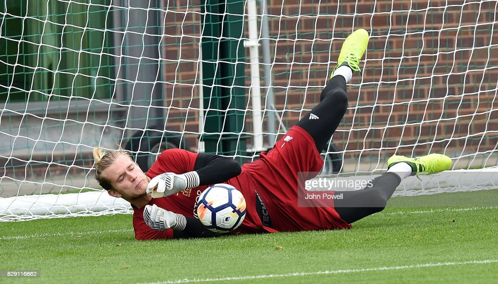 Loris Karius of Liverpool during a training session at Melwood Training Ground on August 10, 2017 in Liverpool, England.