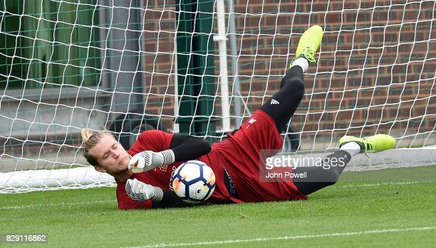 Loris Karius of Liverpool during a training session at Melwood Training Ground on August 10 2017 in Liverpool England