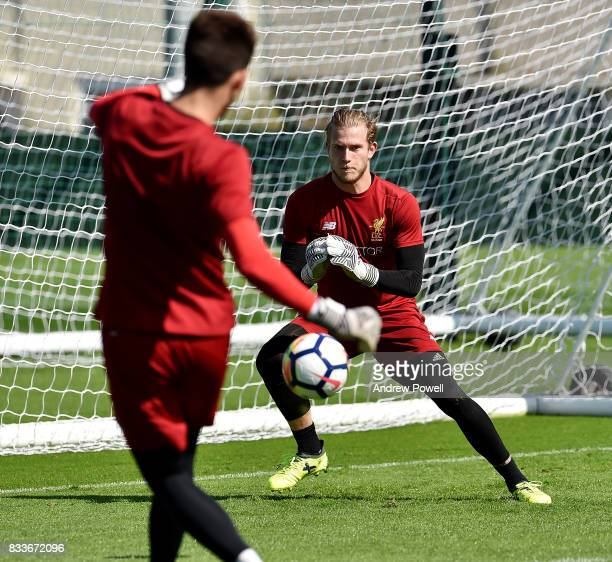 Loris Karius of Liverpool during a training session at Melwood Training Ground on August 17 2017 in Liverpool England