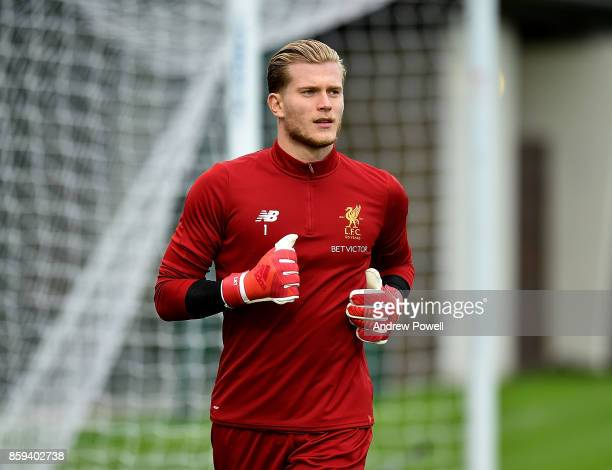 Loris Karius of Liverpool during a training session at Melwood Training Ground on October 9 2017 in Liverpool England