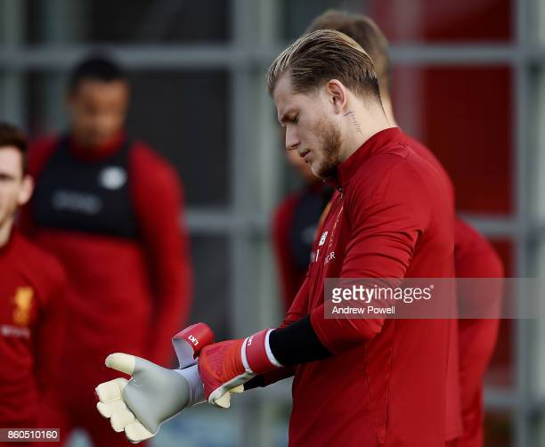 Loris Karius of Liverpool during a training session at Melwood Training Ground on October 12 2017 in Liverpool England
