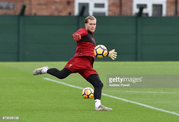 Loris Karius of Liverpool during a training session at Melwood Training Ground on November 13 2017 in Liverpool England