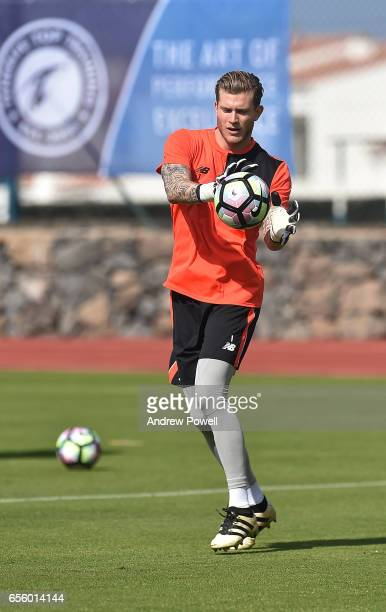 Loris Karius of Liverpool during a training session at Tenerife Top Training on March 21 2017 in Tenerife Spain