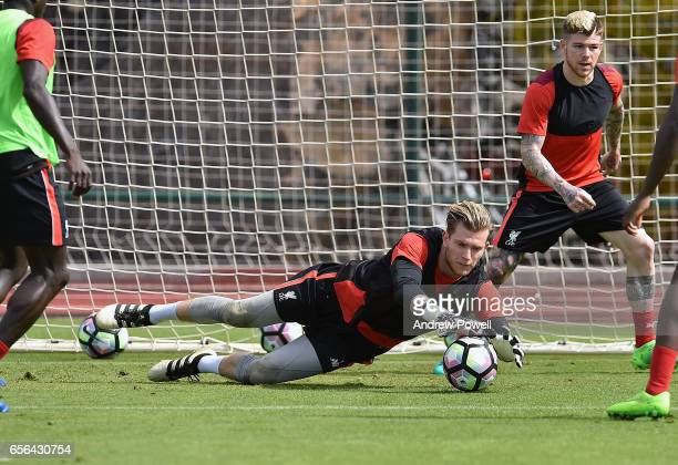 Loris Karius of Liverpool during a training session at Tenerife Top Training on March 22 2017 in Tenerife Spain