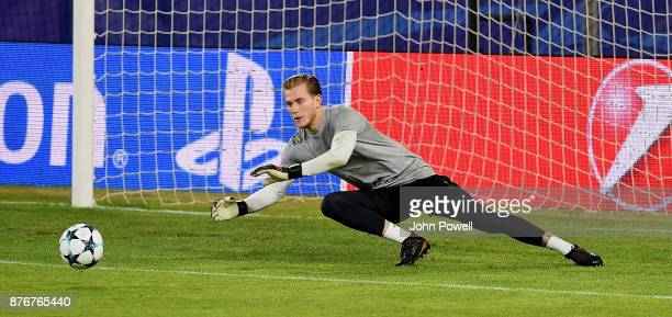 Loris Karius of Liverpool during a training session at the Ramon Sanchez Pizjuan Stadium on November 20 2017 in Seville Spain