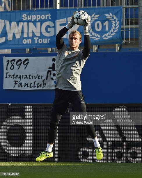 Loris Karius of Liverpool during a training session at Wirsol RheinNeckarArena on August 14 2017 in Sinsheim Germany