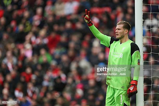Loris Karius of Liverpool during The Emirates FA Cup Fourth Round between Liverpool and Wolverhampton Wanderers at Anfield on January 28 2017 in...
