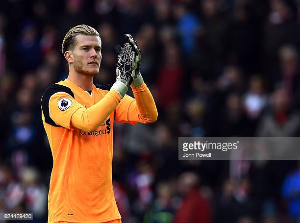 Loris Karius of Liverpool during the Premier League match between Southampton and Liverpool at St Mary's Stadium on November 19 2016 in Southampton...