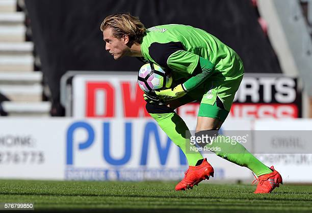Loris Karius of Liverpool during the PreSeason Friendly match between Wigan Athletic and Liverpool at JJB Stadium on July 17 2016 in Wigan England