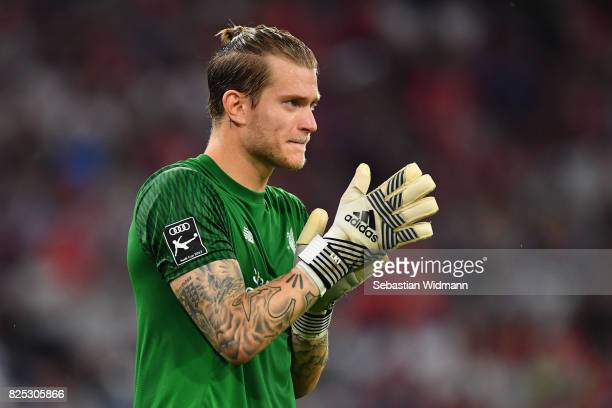 Loris Karius of Liverpool FC looks on during the Audi Cup 2017 match between Bayern Muenchen and Liverpool FC at Allianz Arena on August 1 2017 in...
