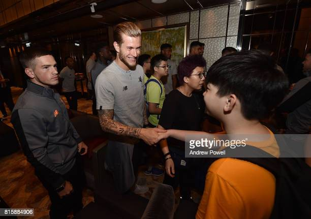 Loris Karius of Liverpool gets a visit from Camp Quality Hong Kong Charity at the Ritz Carlton hotel during the PreSeason tour on July 17 2017 in...