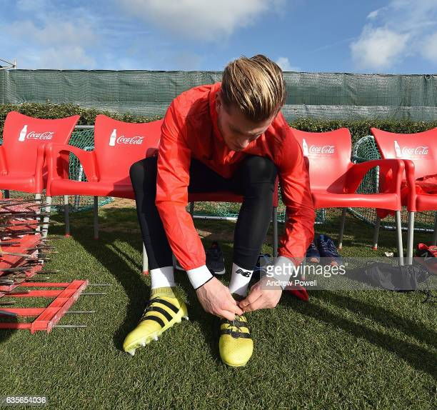 Loris Karius of Liverpool getting ready for a training session at La Manga on February 16 2017 in La Manga Spain
